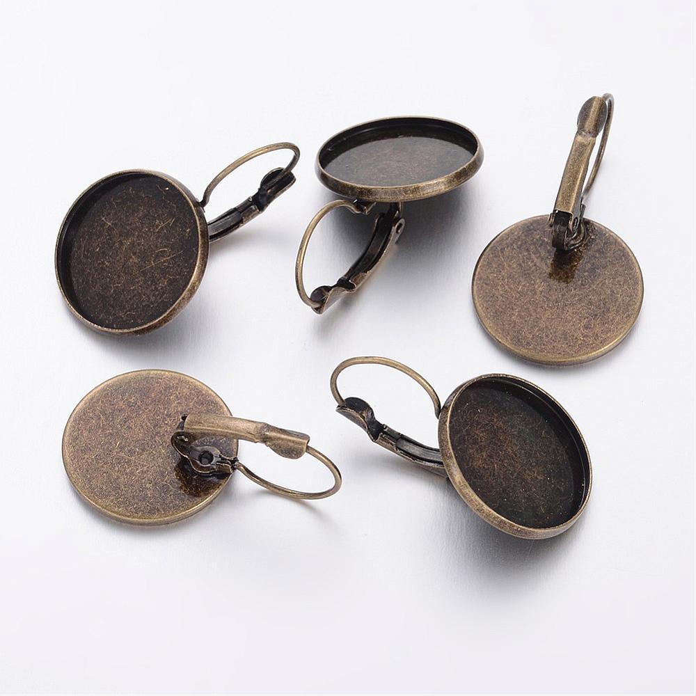 PandaHall_Brass_Leverback_Earring_Findings_Antique_Bronze_20x32mm_Tray_18mm_Brass