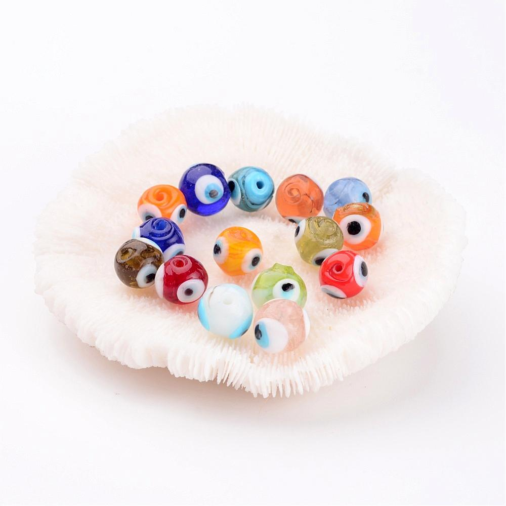 PandaHall Handmade Lampwork Beads, Evil Eye, Round, Mixed Color, about 10mm in diameter, hole: 1mm Lampwork Round Multicolor