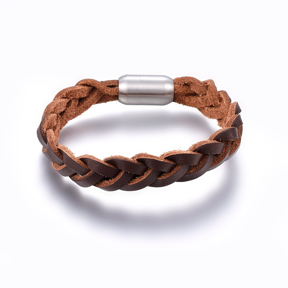 PandaHall_Leather_Braided_Cord_Bracelets_with_304_Stainless_Steel_Magnetic_Clasp_Bullet_SaddleBrown_85822cm_14x6mm_Leather_Brown
