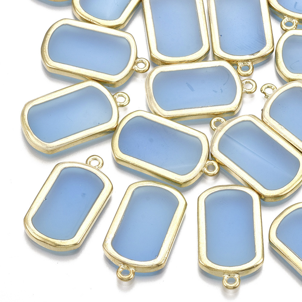 PandaHall_Epoxy_Resin_Pendants_with_Alloy_Findings_Rectangle_Light_Gold_DodgerBlue_27x15x25mm_Hole_18mm_AlloyResin_Rectangle_Blue