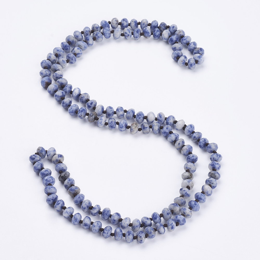 """PandaHall_Natural_Blue_Spot_Stone_Beaded_Multi-use_Necklaces_Wrap_Bracelets,_Three-Four_Loops_Bracelets,_Faceted,_Abacus,_37.4""""(95cm)_Blue..."""