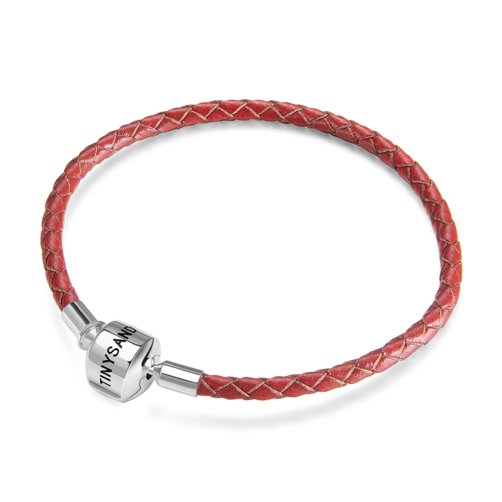 """PandaHall_TINYSAND&reg_Sterling_Silver_Red_Leather_European_Bracelets,_Platinum,_7-1_2""""(190mm)_Leather_Red"""