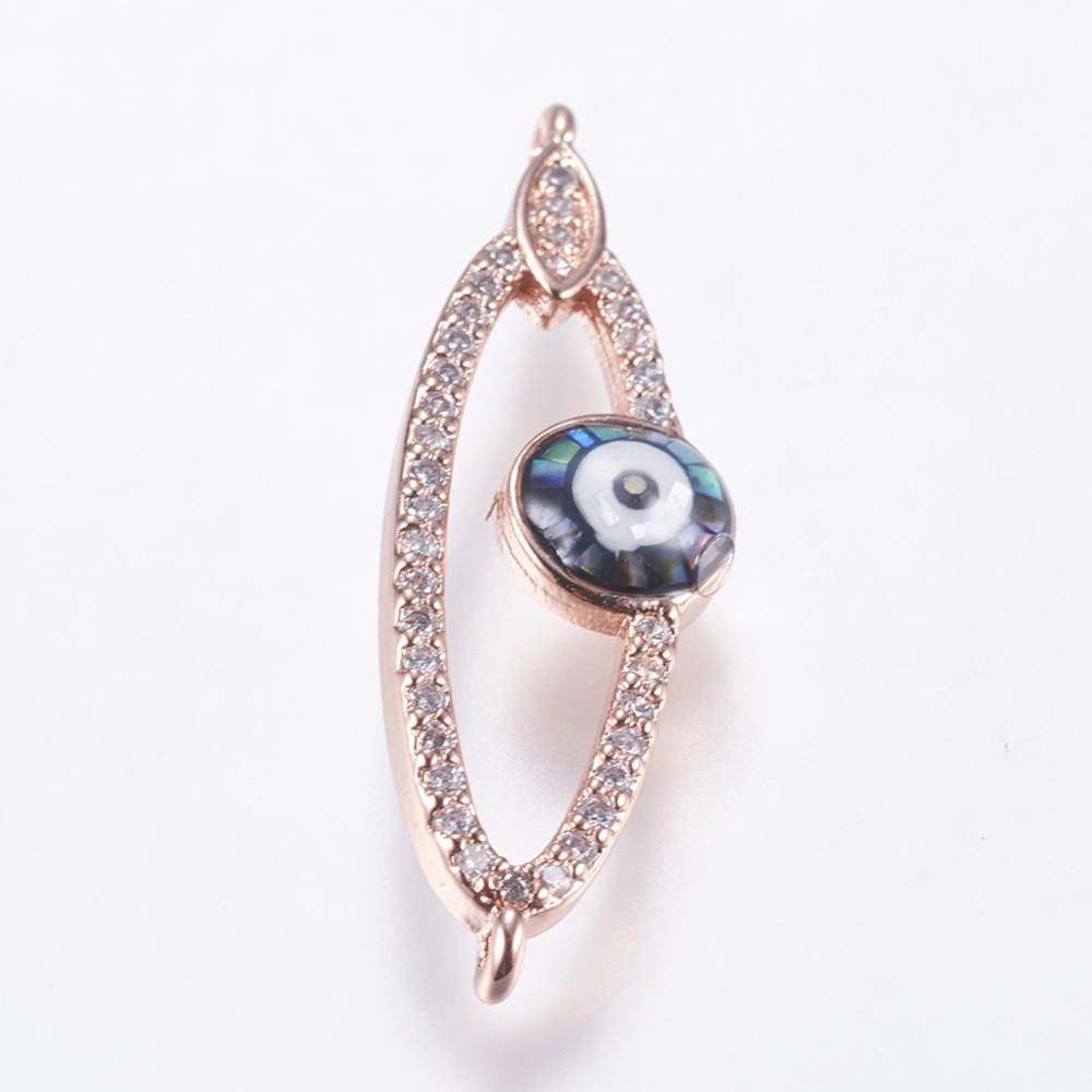 PandaHall_Brass_Micro_Pave_Cubic_Zirconia_Links_with_Shell_Eye_Rose_Gold_32x10x35mm_Hole_1mm_BrassCubic_Zirconia_Eye