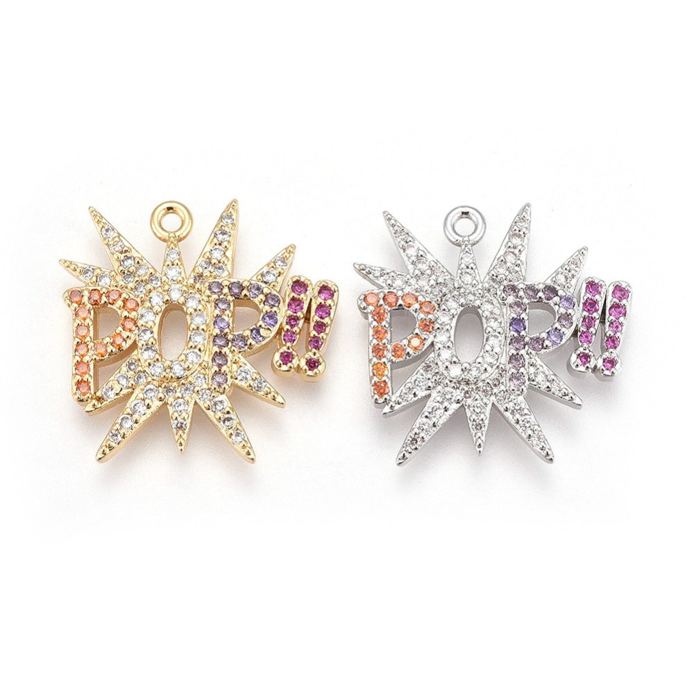 PandaHall_Brass_Micro_Pave_Cubic_Zirconia_Pendants_Word_Pop_Colorful_Mixed_Color_197x20x22mm_Hole_12mm_BrassCubic_Zirconia_Word