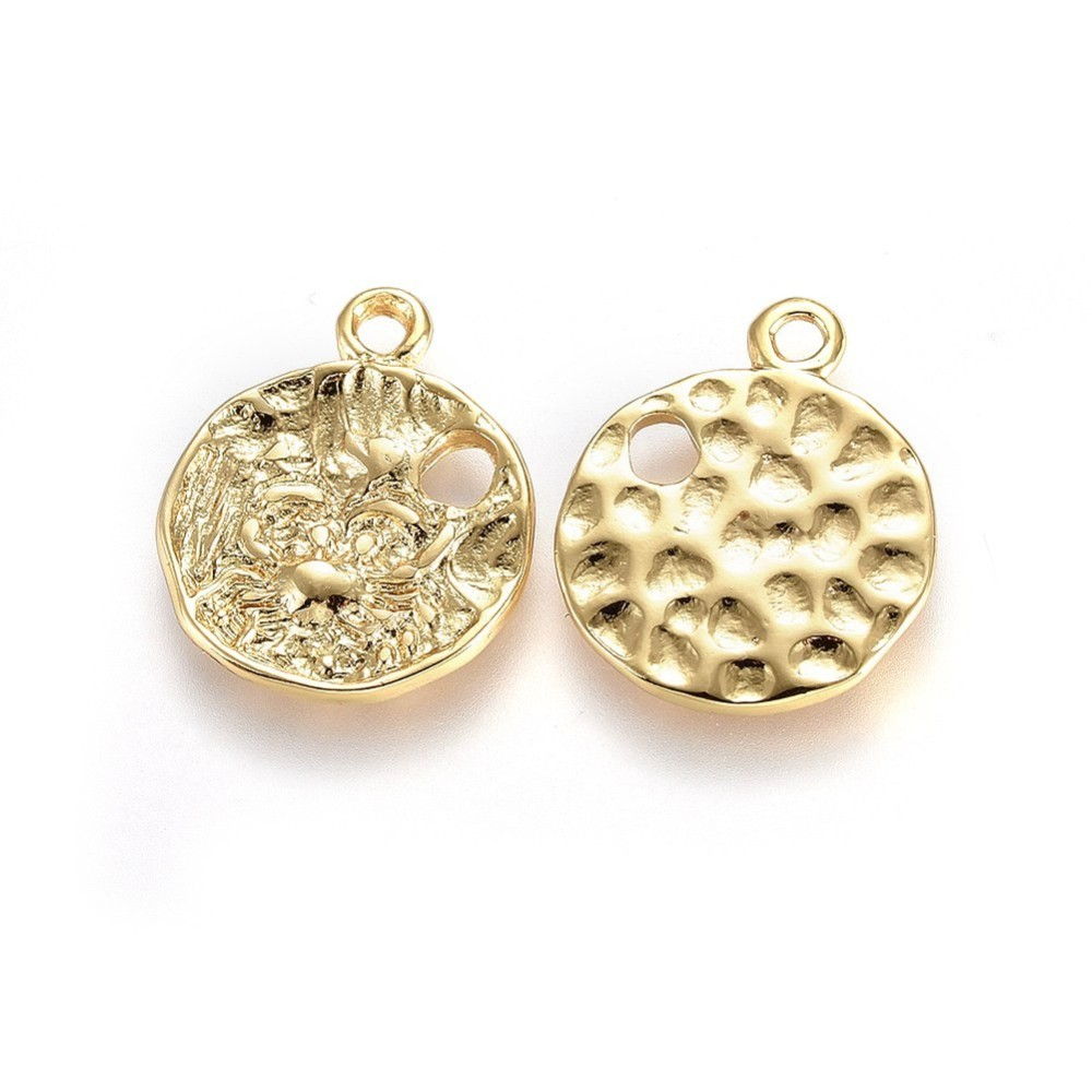 PandaHall_Alloy_Pendants_Lead_Free_&_Nickel_Free_&_Cadmium_Free_Hammered_Flat_Round_Real_Gold_Plated_21x175x15mm_Hole_2mm_Alloy
