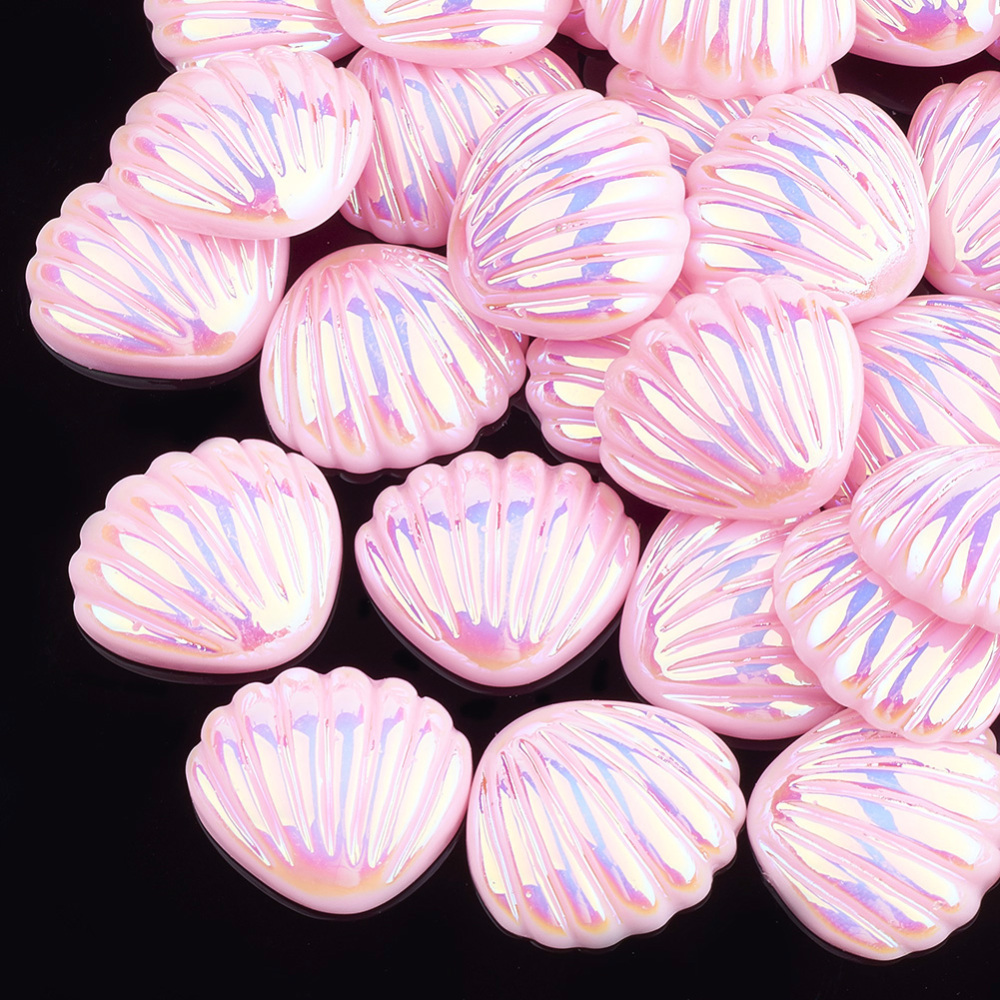 PandaHall_Resin_Cabochons_AB_Color_Shell_Pink_21x19x6mm_Resin_Shell_Pink