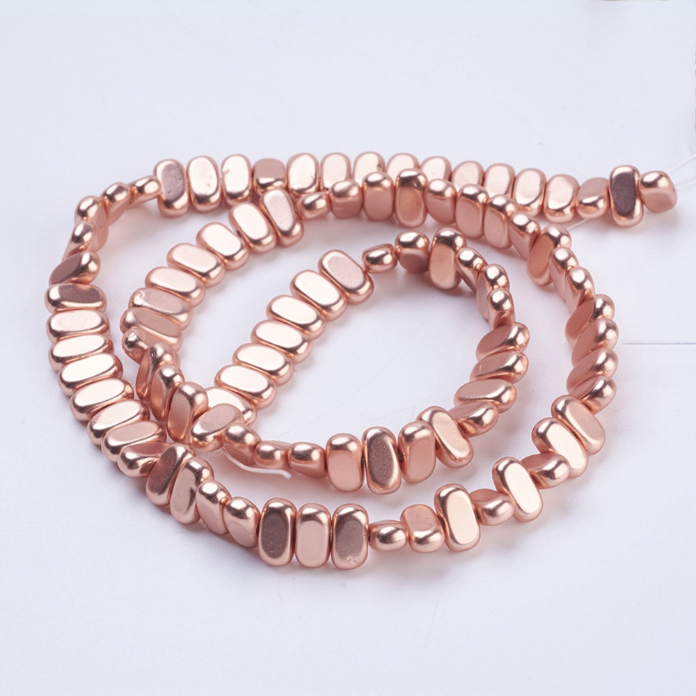PandaHall_Electroplate_Nonmagnetic_Synthetic_Hematite_Beads_Strands_Water_Plating_Frosted_Rectangle_Rose_Gold_Plated_8x4x2mm_Hole