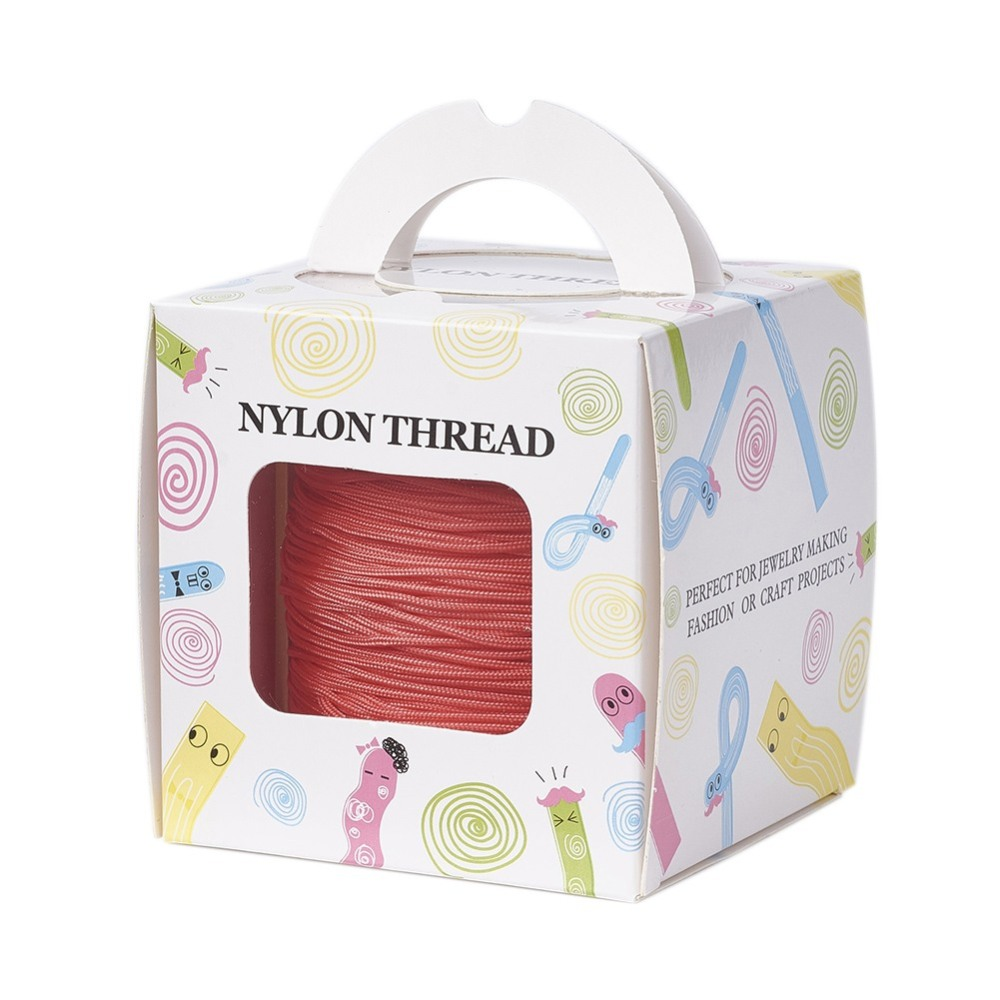 PandaHall_Nylon_Thread_with_One_Nylon_Thread_inside_Stronger_than_NWIRR006_Series_Tomato_1mm__about_140mroll_Nylon_Red