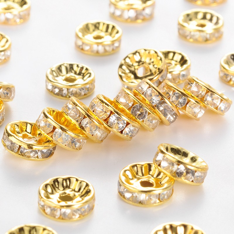 PandaHall_Brass_Rhinestone_Spacer_Beads_Grade_B_Clear_Golden_Metal_Color_Size_about_10mm_in_diameter_4mm_thick_hole_2mm
