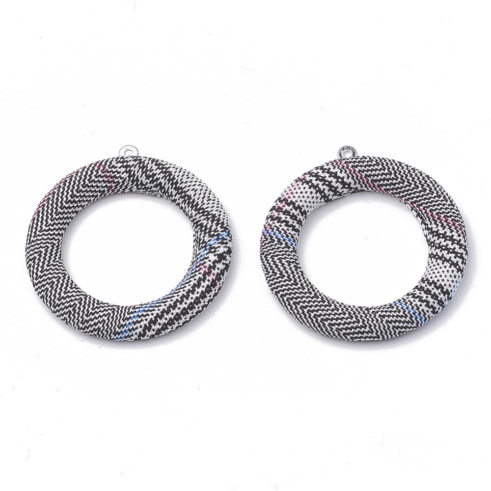 PandaHall_Cloth_Fabric_Covered_Pendants_with_Aluminum_Bottom_Ring_Platinum_Black_40x36x4mm_Hole_1mm_Cloth_Ring_Black