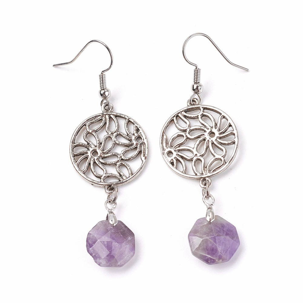 PandaHall_Natural_Amethyst_Dangle_Earrings_with_Brass_Ear_Pins_and_Alloy_Pendants_Flat_Round_with_Flower_62mm_Pendant_45x20mm_Pin