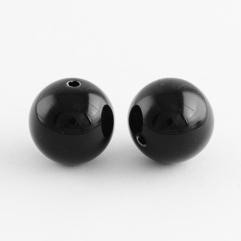 PandaHall_Chunky_Bubblegum_Round_Acrylic_Beads_Black_12mm_Hole_2mm_Acrylic_Round_Black