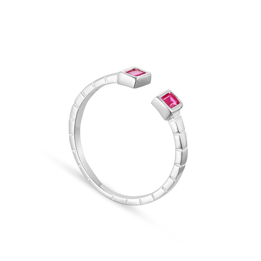 PandaHall SHEGRACE® Fashion Sterling Silver Cuff Ring, with Rectangle Mauve AAA Cubic Zirconia, Silver, 17mm Sterling Silver Purple