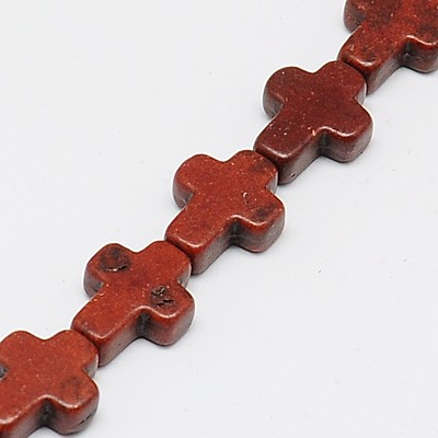 PandaHall_Synthetic_Turquoise_Beads_Strands_Dyed_Cross_Chocolate_10x8x3mm_Hole_1mm_about_38pcsstrand_15_Synthetic_Turquoise_Cross