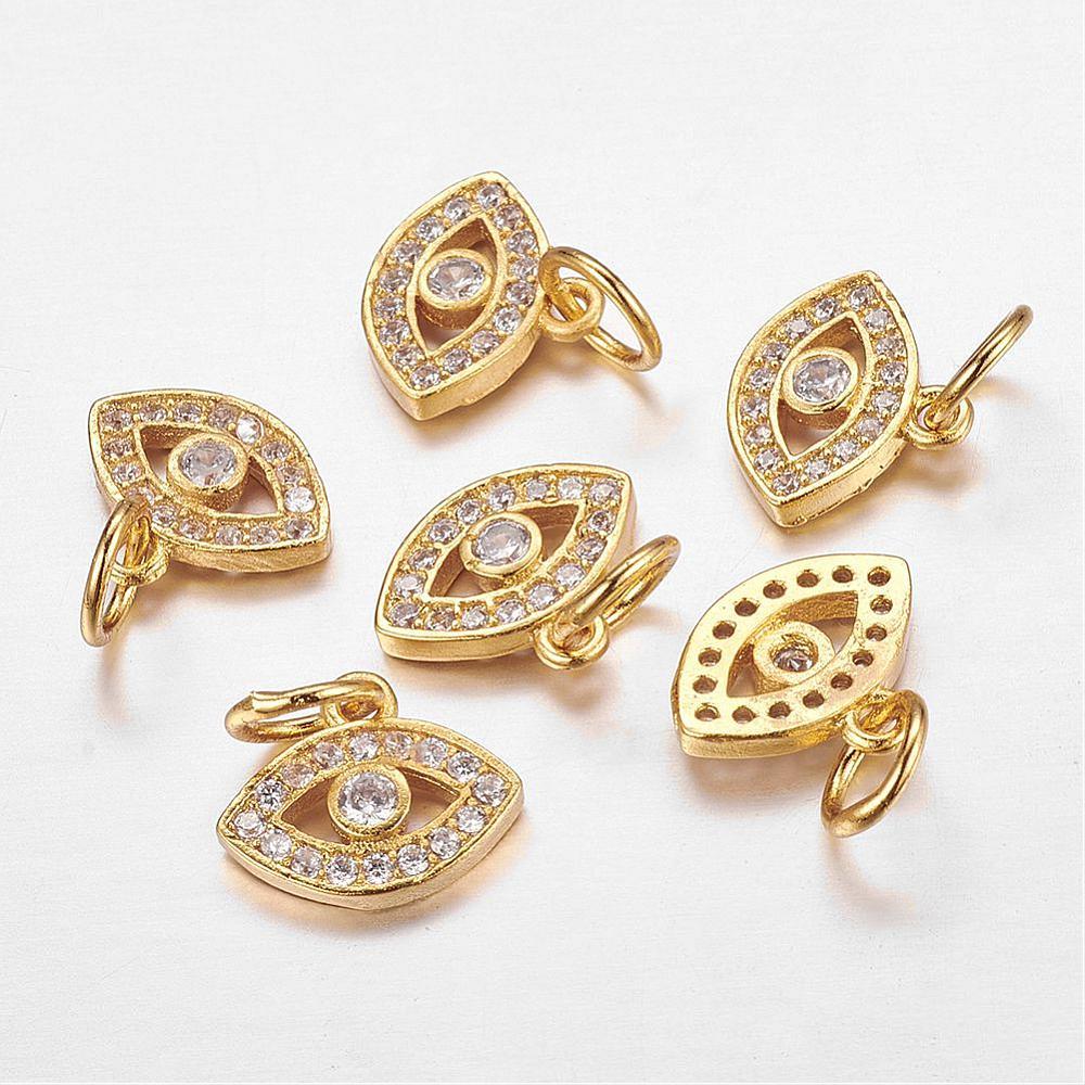PandaHall CZ Brass Micro Pave Cubic Zirconia Evil Eye Charms, Golden, 10x11x..