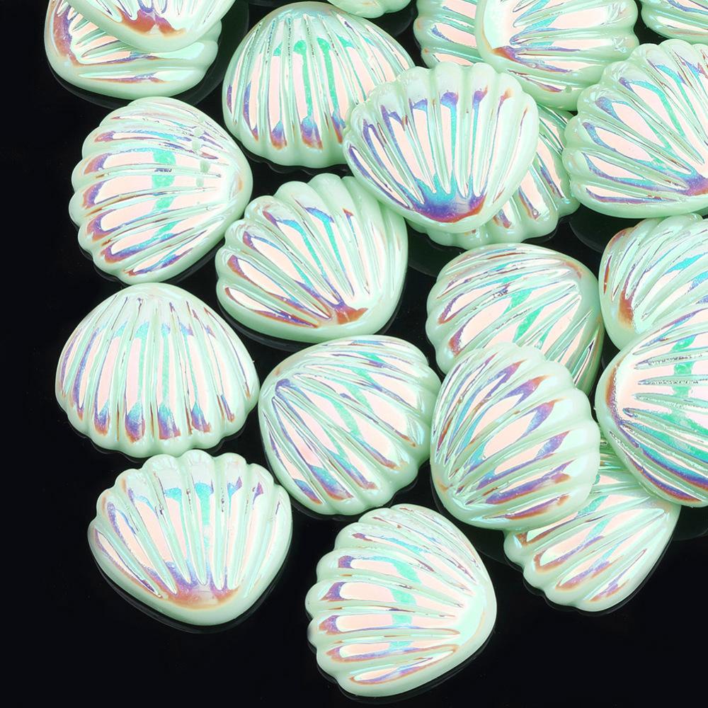 PandaHall_Resin_Cabochons_AB_Color_Shell_Aquamarine_21x19x6mm_Resin_Shell_Green