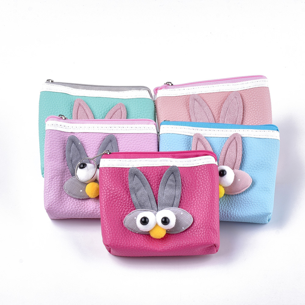 PandaHall PU Leather Clutch Bags, Change Purse, with Cloth  and Iron Ring, Rabbit, Mixed Color, 96~100x112~116x21~28mm Imitation Leather... (ABAG-S005-13B 1762781) photo