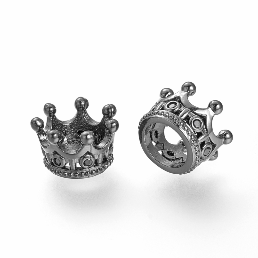 PandaHall_Brass_Micro_Pave_Cubic_Zirconia_Beads_Large_Hole_Beads_Crown_Black_Gunmetal_11x7mm_Hole_6mm_BrassCubic_Zirconia_Crown