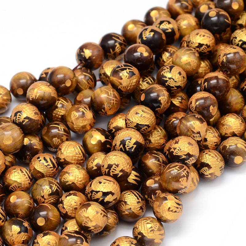 PandaHall_Round_Natural_Tiger_Beads_Strands_with_Carved_Dragon_Pattern_10mm_Hole_1mm_about_39pcsstrand_153_Tiger_Eye_Round