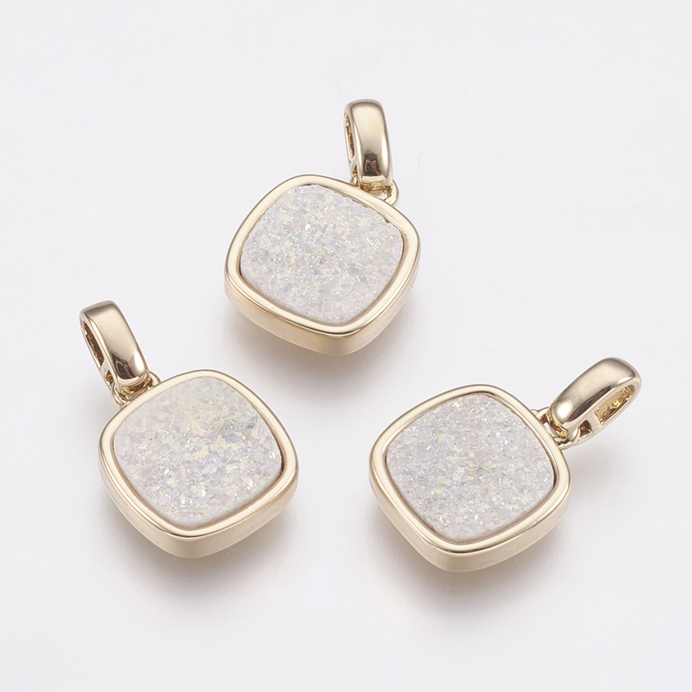 PandaHall_Natural_Druzy_Agate_Pendants_with_Brass_Finding_Square_GhostWhite_GhostWhite_13x11x3~4mm_Hole_2x25mm_Agate_Square_White