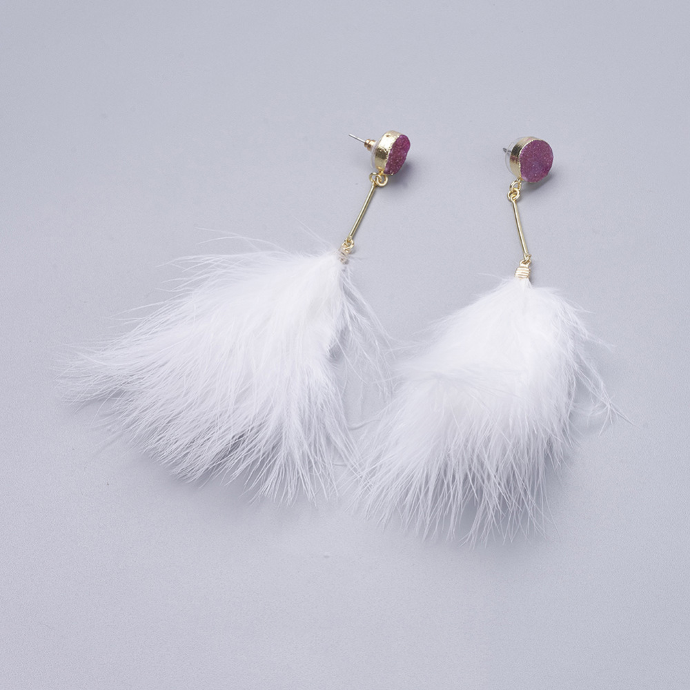PandaHall_Feather_Dangle_Stud_Earrings_with_Brass_Findings_and_Dyed_Natural_Druzy_Crystal_Purple_136~142mm_Pin_08mm_Pendant_84~93mm