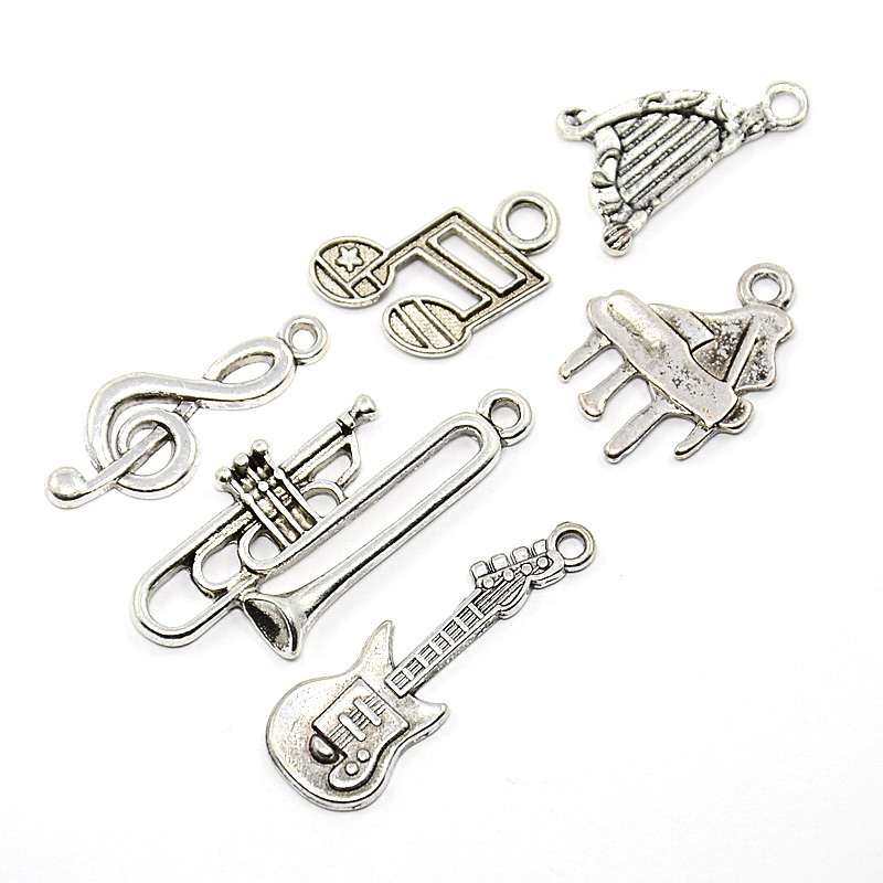 PandaHall_Sets_of_Musical_Instruments_Antique_Silver_Tibetan_Style_Alloy_Pendants_Guitar_Harp_Trumpet_Piano_Musical_Note_Treble_Clef