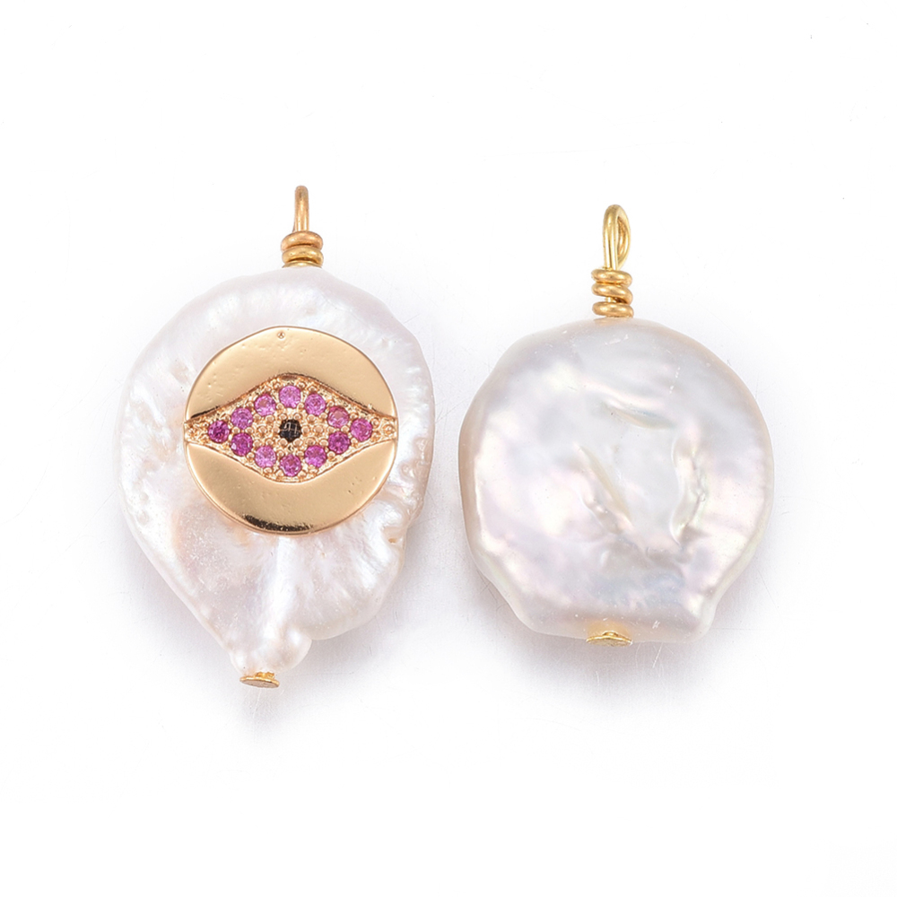 PandaHall_Natural_Pearl_Pendants_with_Brass_Cubic_Zirconia_Findings_Nuggets_with_Eye_Golden_OldRose_17~26x11~16x5~11mm_Hole_16~2mm