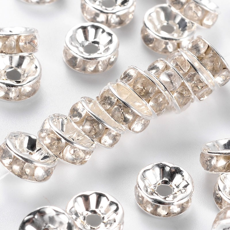PandaHall_Brass_Rhinestone_Spacer_Beads_Grade_B_Clear_Silver_Metal_Color_Size_about_8mm_in_diameter_38mm_thick_hole_15mm