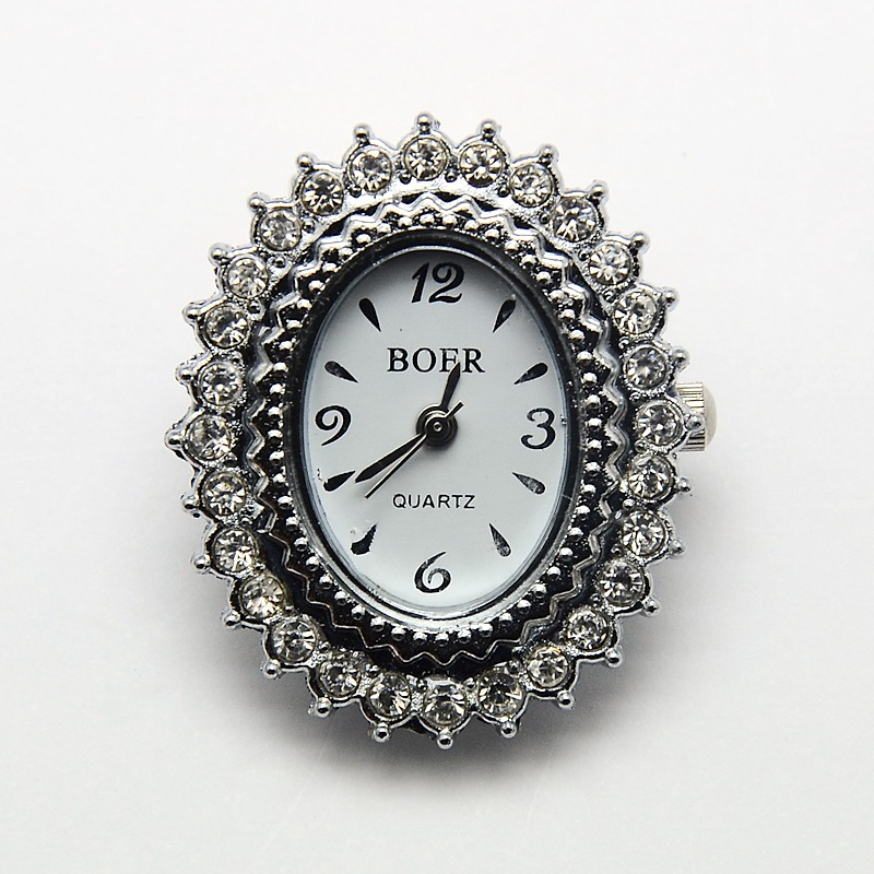 PandaHall Alloy Rhinestone Watch Heads Oval Watch Faces, Platinum, 32x27x8mm, Hole: 1mm Alloy Oval