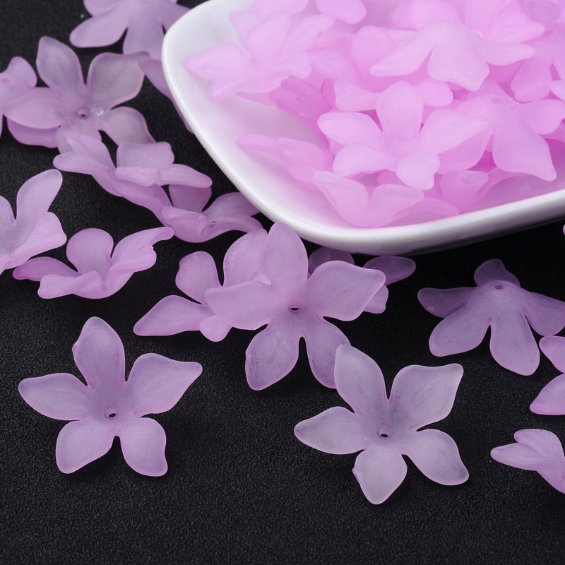 PandaHall_Translucent_Acrylic_Beads_Frosted_Flower_Violet_29x27x8mm_Hole_2mm_about_515pcs500g_Acrylic_Flower_Purple