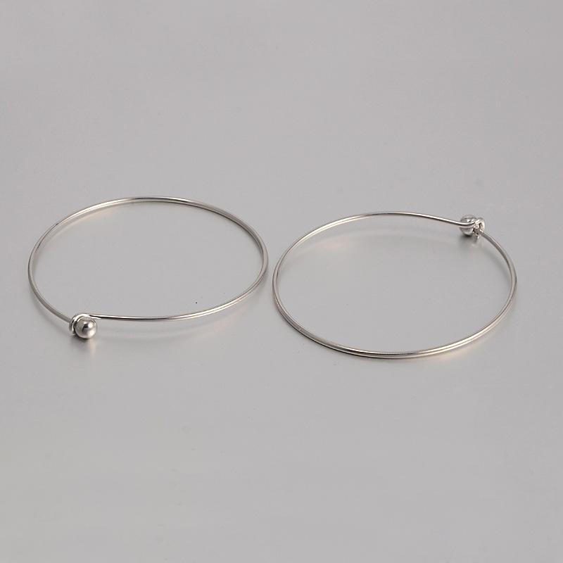 PandaHall Brass Bangle Makings, Platinum, 2-3/4(7cm) Brass