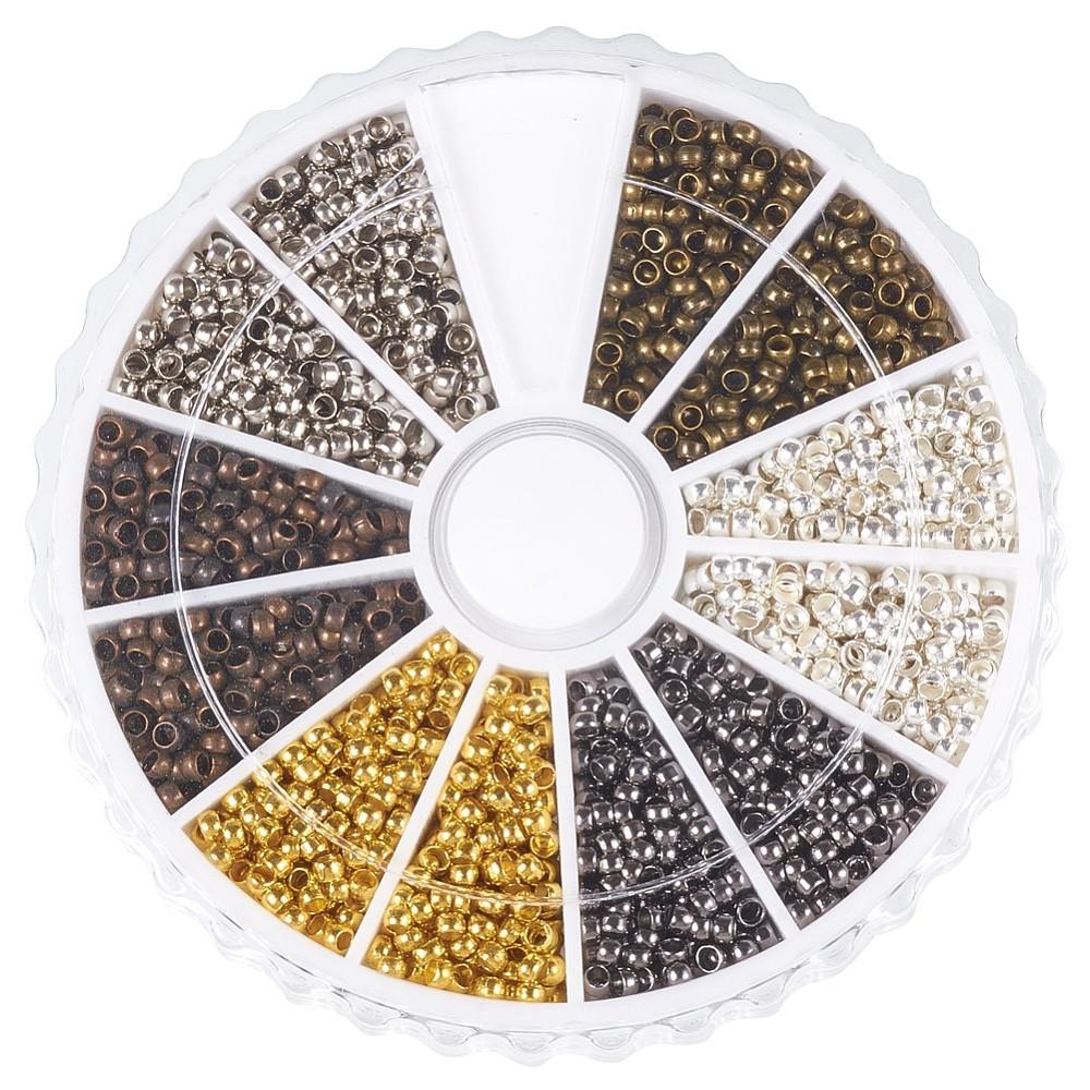 PandaHall_Brass_Crimp_Beads_Rondelle_Mixed_Color_2mm_Hole_12mm_about_3000pcsbox_500pcscolor_Brass_Rondelle_Multicolor