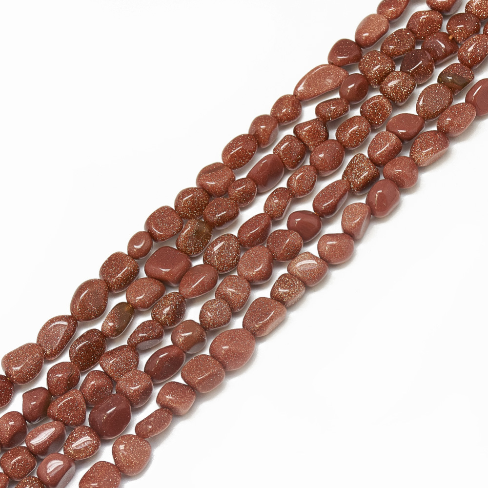 PandaHall_Synthetic_Goldstone_Beads_Strands_Nuggets_4~15x4~8x3~7mm_Hole_1mm_about_40~70pcsstrand_157_Goldstone_Nuggets