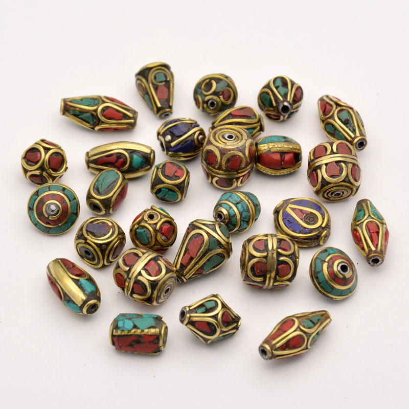 PandaHall_Handmade_Tibetan_Style_Beads_Brass_with_Synthetic_Coral_and_Turquoise_Antique_Golden_8~25x8~13mm_Hole_1~15mm_Brass_Others