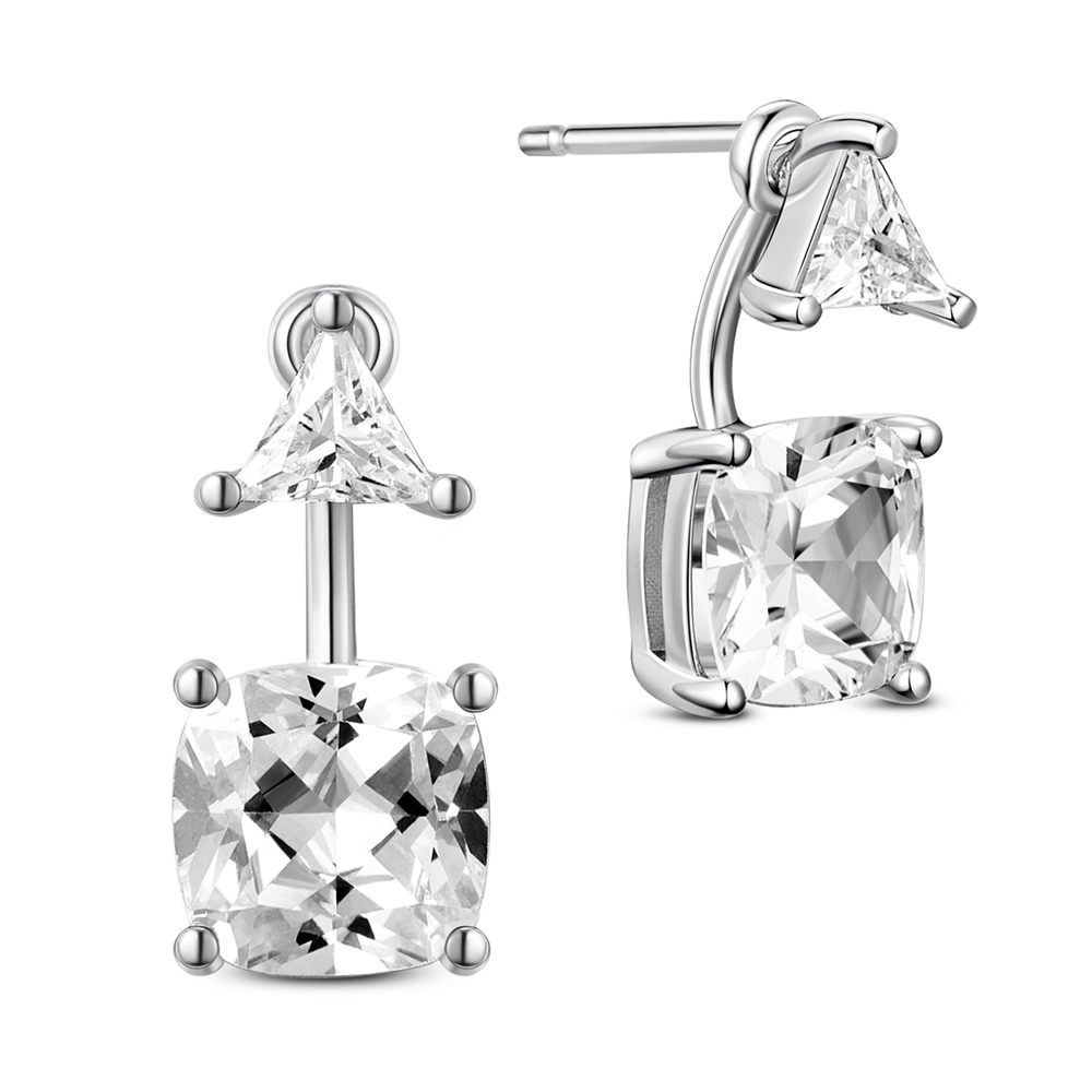 PandaHall SHEGRACE® 925 Sterling Silver Jacket Ear Studs, with  AAA Cubic Zirconia, Platinum, 15x15mm Sterling Silver Clear