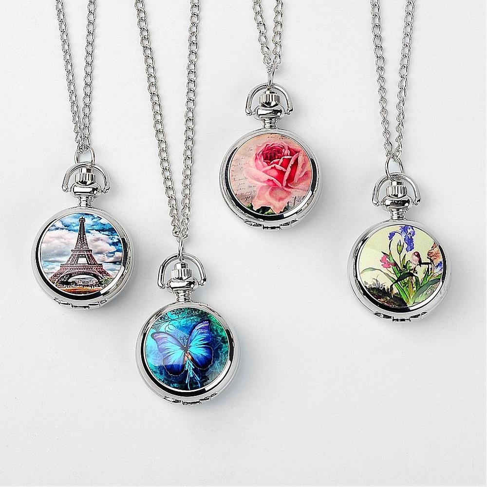 PandaHall Alloy Quartz Pocket Watches, with Iron Chain, Flat Round with Pict..