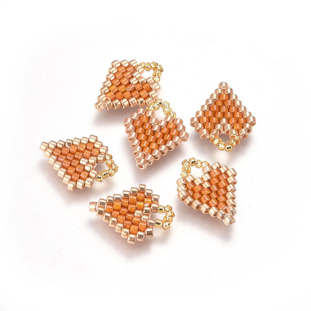 PandaHall_MIYUKI&reg_&_TOHO&reg_Handmade_Japanese_Seed_Beads_Pendants_Loom_Pattern_Heart_SandyBrown_15~16x115~125x17mm_Hole_3mm