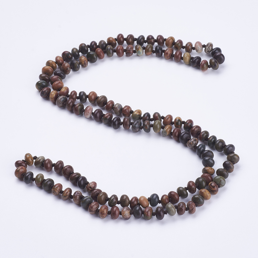 """PandaHall_Natural_Picasso_Stone_Beaded_Multi-use_Necklaces_Wrap_Bracelets,_Three-Four_Loops_Bracelets,_Abacus,_37.4""""(95cm)_Picasso_Jasper"""