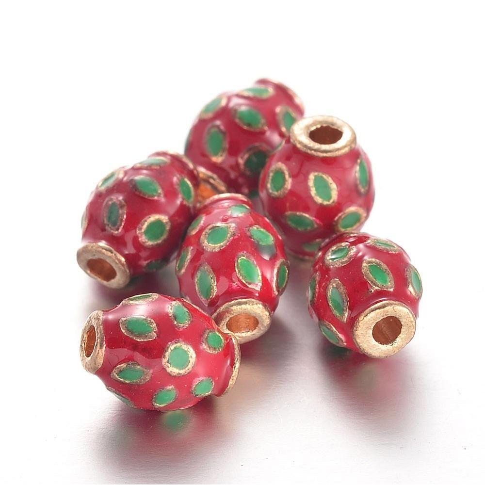PandaHall_Alloy_Enamel_Beads_Oval_Red_12x9mm_Hole_2mm_AlloyEnamel_Oval_Red