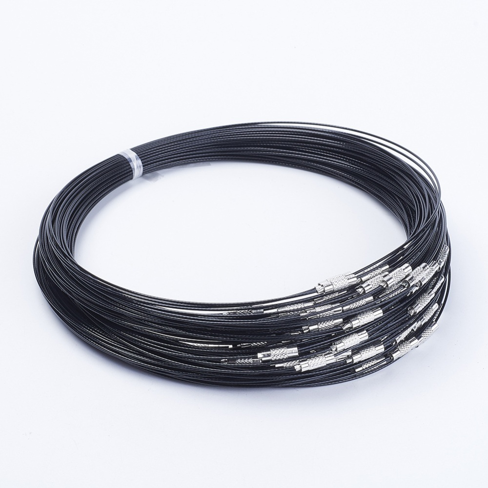 PandaHall_Steel_Wire_Necklace_Cord_Nice_for_DIY_Jewelry_Making_with_Brass_Screw_Clasp_Black_175_1mm_clasp_12x4mm_Steel_Black