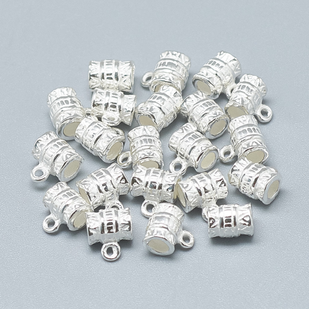 PandaHall 925 Sterling Silver Hanger Links, Column, Silver, 7.5x6.5x5mm, Hole: 1mm; 2.5mm Inner Diameter Sterling Silver Column Silver