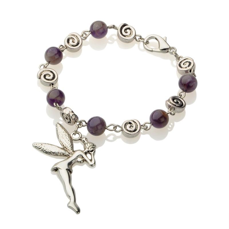 PandaHall Alloy Fairy Charm Bracelets, with Amethyst Beads and Alloy Lobster..