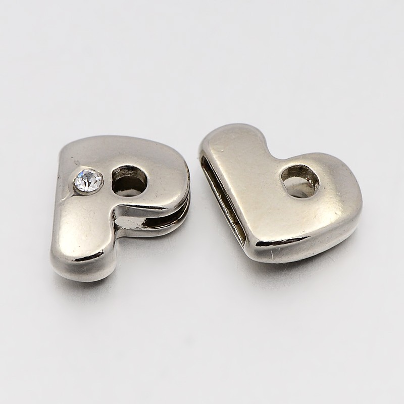 PandaHall Letter Slider Beads for Watch Band Bracelet Making, Platinum Tone ..