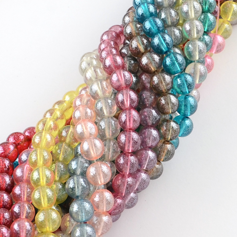 PandaHall_Transparent_Spray_Painted_Glass_Bead_Strands_Round_Mixed_Color_4mm_Hole_11~13mm_about_205pcsstrand_332_Glass_Round