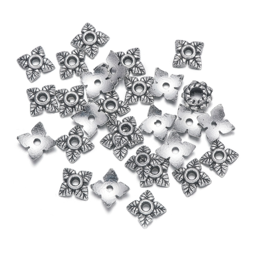 PandaHall_Tibetan_Silver_Bead_Caps_Lead_Free_&_Cadmium_Free_Flower_Antique_Silver_about_6mm_long_6mm_wide_2mm_high_Hole_2mm_Alloy