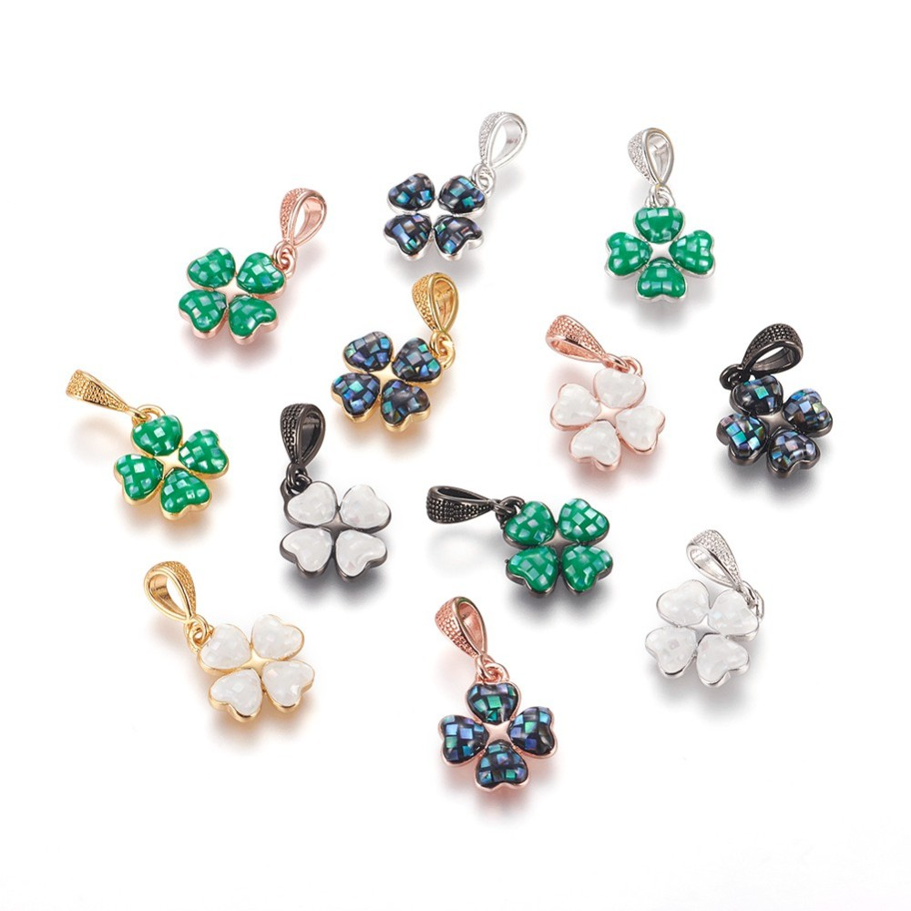 PandaHall_Brass_Enamel_Charms_with_Freshwater_Shell_Four_Leaf_Clover_Mixed_Color_135x12x25mm_Hole_3x35mm_BrassEnamel_Leaf