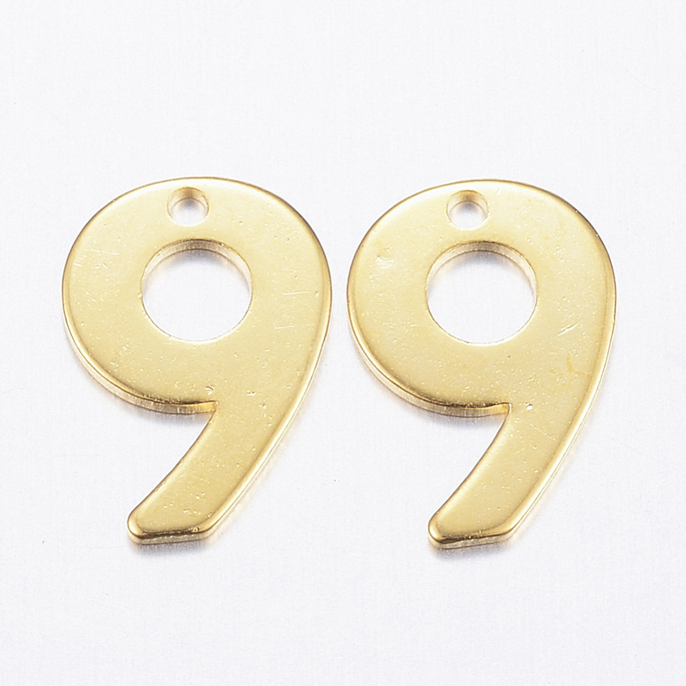 PandaHall_304_Stainless_Steel_Charms_Number_Num9_Golden_11x8x08mm_Hole_1mm_Stainless_Steel_Number