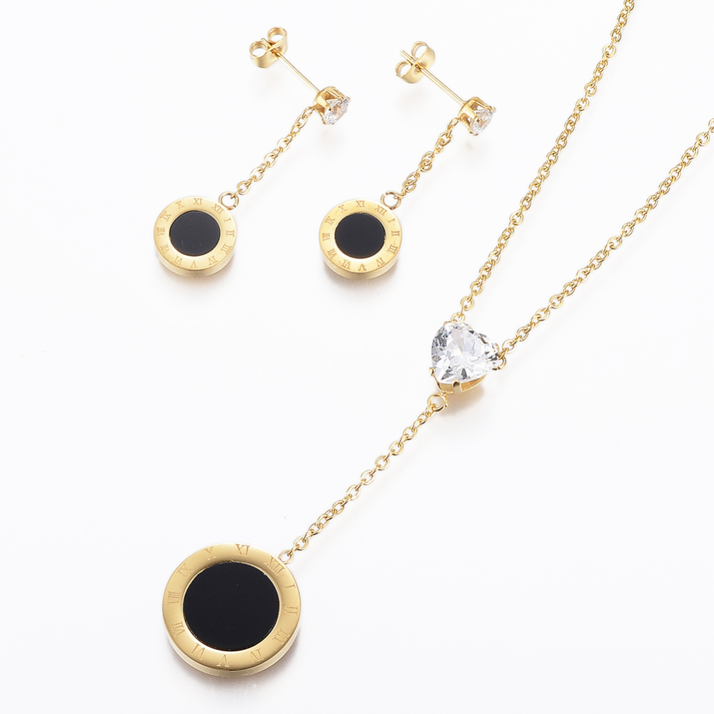 PandaHall 304 Stainless Steel Jewelry Sets, Pendant Necklace and Stud Earrings, with Cubic Zirconia and Enamel, Flat Round, Golden, 19.6