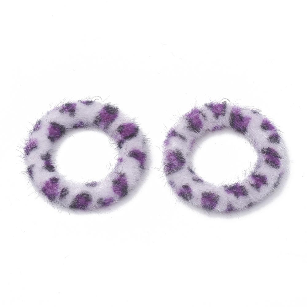 PandaHall_Imitation_Mink_Fur_Covered_ Pendants_with_Aluminum_Bottom_Ring_MediumOrchid_40x355x45mm_Hole_1mm_Cloth_Ring_Purple