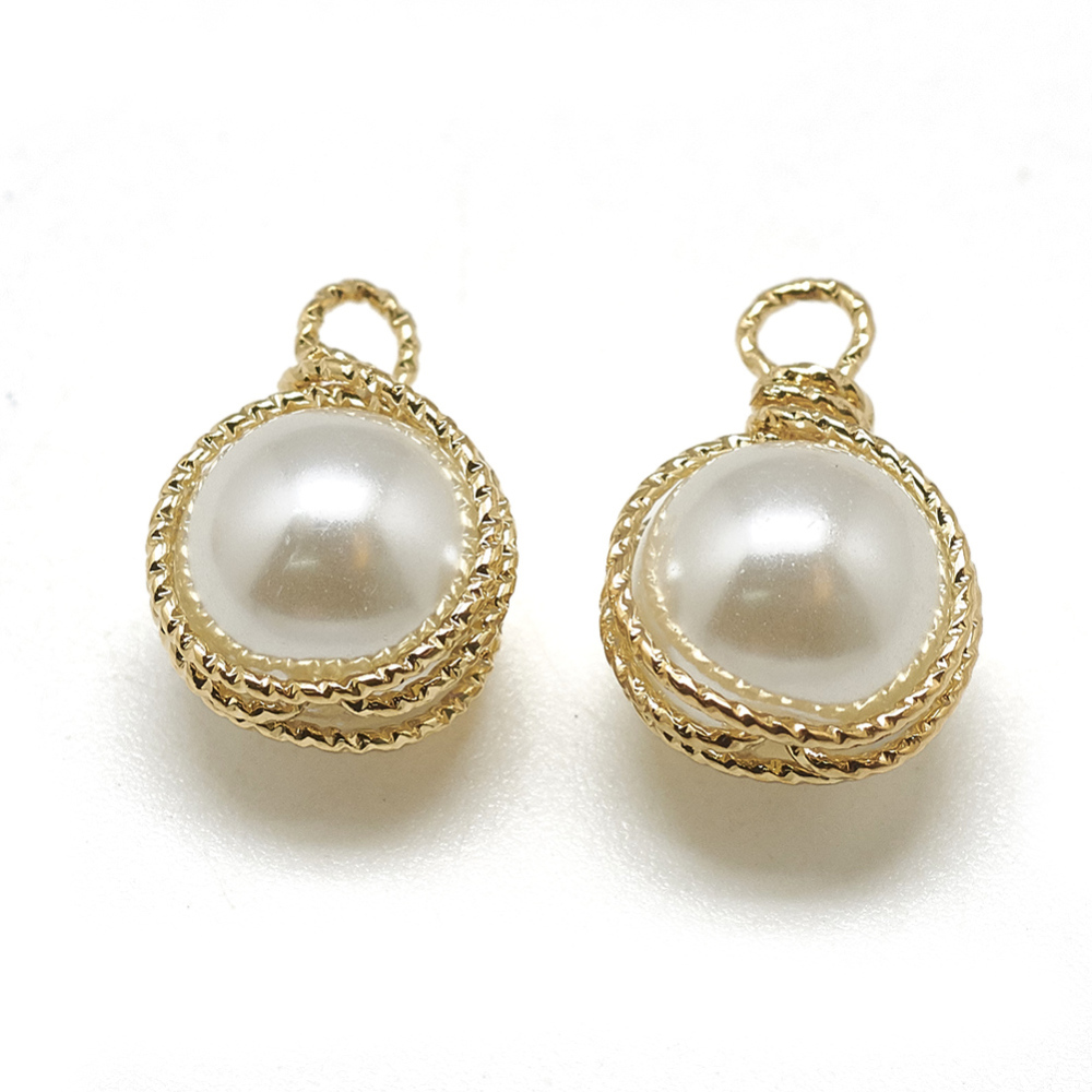 PandaHall_ABS_Plastic_Imitation_Pearl_Charms_with_Brass_Findings_Round_Real_18K_Gold_Plated_14x9x8mm_Hole_15mm_BrassPlastic_Round